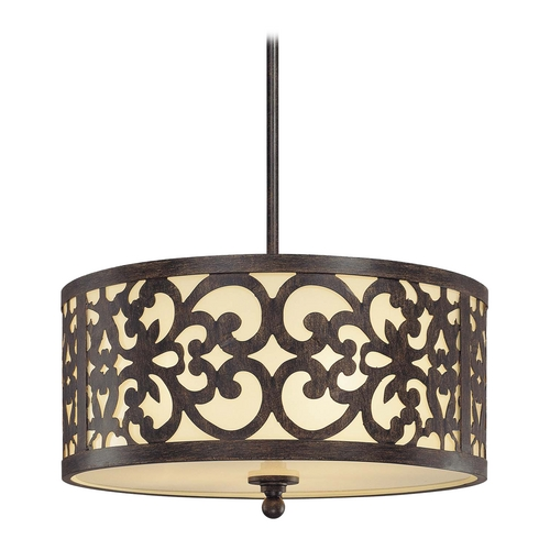 Minka Lavery Drum Pendant Light with Beige / Cream Glass in Iron Oxide Finish 1493-357