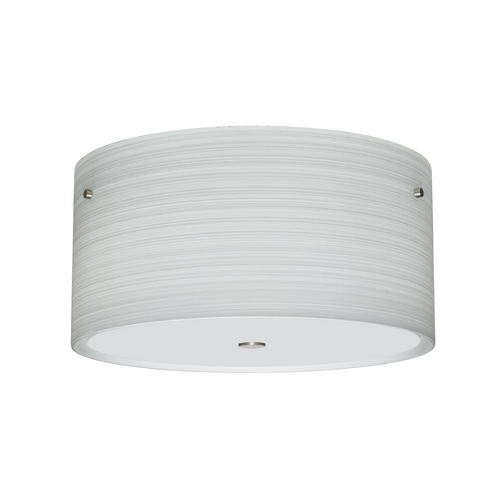 Besa Lighting Modern Flushmount Light with Grey Glass in Satin Nickel Finish 1KM-4008KR-SN