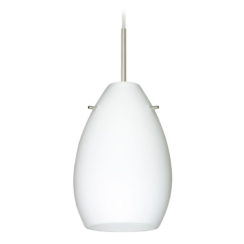 Besa Lighting Besa Lighting Pera Satin Nickel Mini-Pendant Light with Oval Shade 1BT-171307-SN