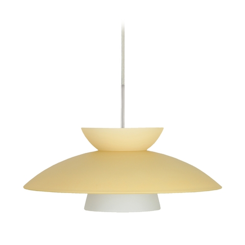 Besa Lighting Modern Pendant Light with Yellow Glass in Satin Nickel Finish 1JT-451397-SN