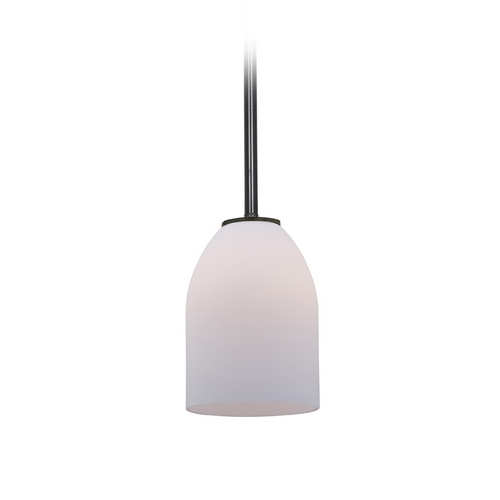 Access Lighting Modern Mini-Pendant Light with White Glass 28018-1R-ORB/OPL