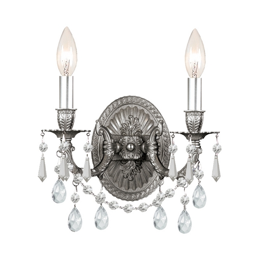 Crystorama Lighting Crystal Sconce Wall Light in Pewter Finish 5522-PW-CL-S