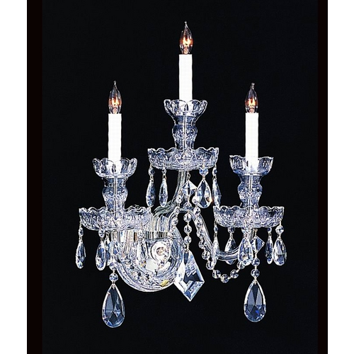 Crystorama Lighting Crystal Sconce Wall Light in Polished Chrome Finish 1143-CH-CL-S