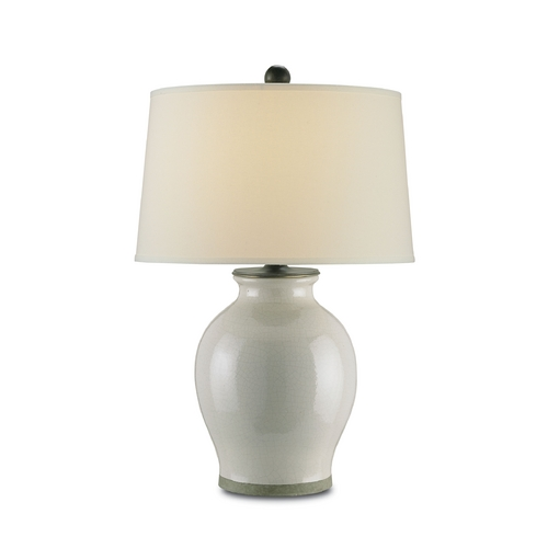 Currey and Company Lighting Table Lamp with White Shade in Feather Gray Finish 6432