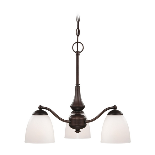 Nuvo Lighting Chandelier with White Glass in Prairie Bronze Finish 60/5162