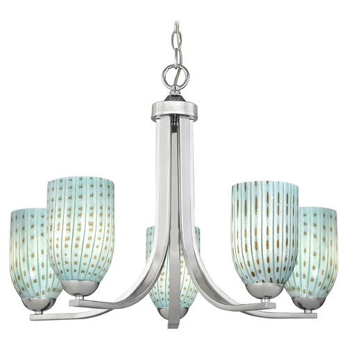 Design Classics Lighting Modern Chandelier in Polished Chrome Finish 584-26 GL1003D