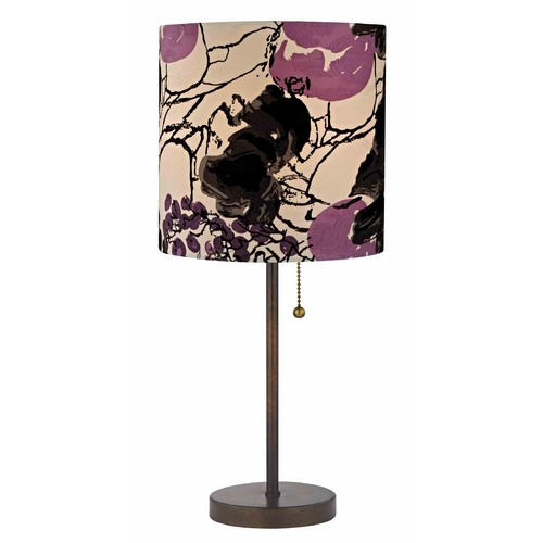 Design Classics Lighting Bronze Pull-Chain Table Lamp Flower Print Drum Shade 1900-604 SH9498