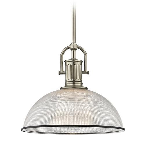 Design Classics Lighting Industrial Prismatic Glass Pendant Light Black / Nickel 13.13-Inch Wide 1764-09 G1780-FC R1780-07
