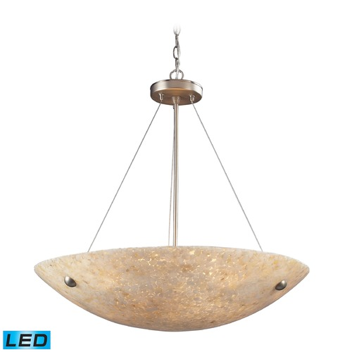 Elk Lighting Elk Lighting Stonybrook Satin Nickel, Pearl Stone LED Pendant Light with Bowl / Dome Shade 8887/6-LED