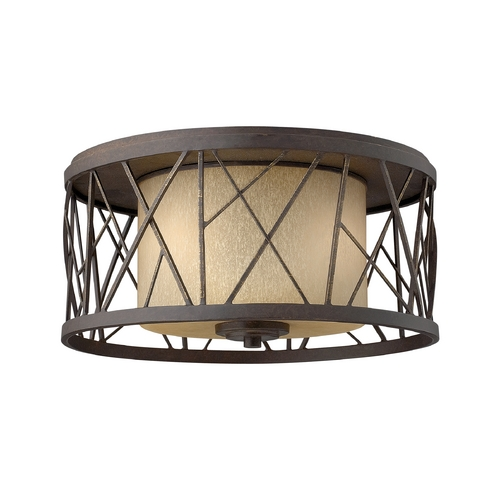 Frederick Ramond Flushmount Light with Amber Glass in Oil Rubbed Bronze Finish FR41611ORB