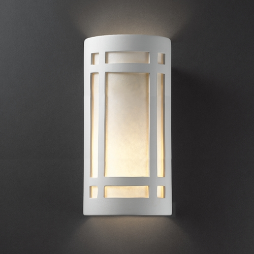 Justice Design Group Outdoor Wall Light with White in Bisque Finish CER-7497W-BIS