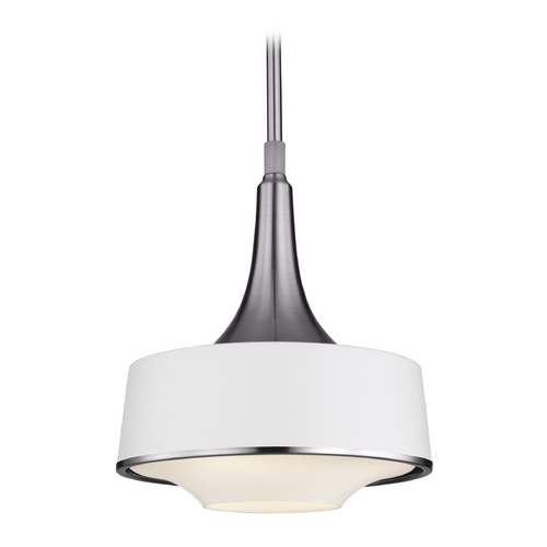 Feiss Lighting Feiss Lighting Holloway Brushed Steel / Textured White Mini-Pendant Light P1285BS/TXW