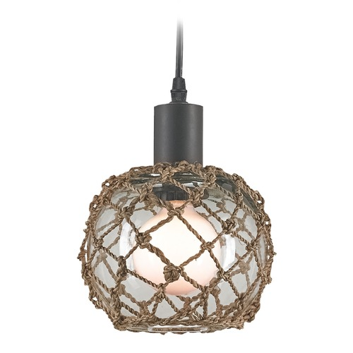 Currey and Company Lighting Currey and Company Lighting Fairwater Natural / Old Iron Pendant Light with Bowl / Dome Shade 9577