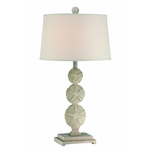 Lite Source Lighting Lite Source Sand Dollar Brushed Antique White Table Lamp with Drum Shade LS-22422
