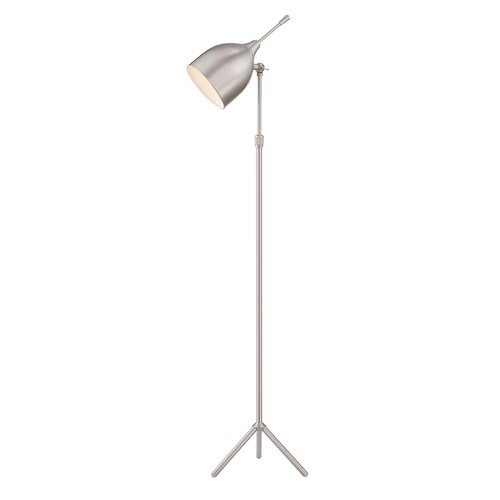 Lite Source Lighting Lite Source Ulric Polished Steel Floor Lamp with Bowl / Dome Shade LS-82808PS