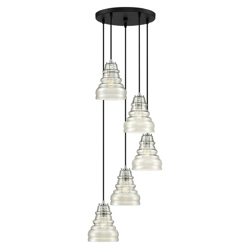 Quoizel Lighting Earth Black 5-Light Multi-Light Pendant with Smoke Shade PPY2705EK