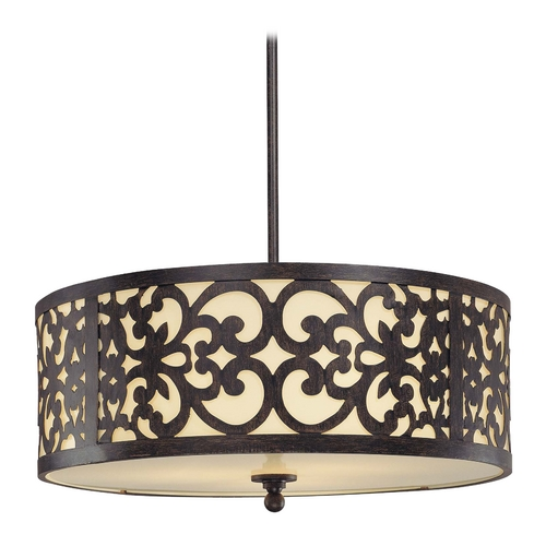 Minka Lavery Drum Pendant Light with Beige / Cream Glass in Iron Oxide Finish 1494-357