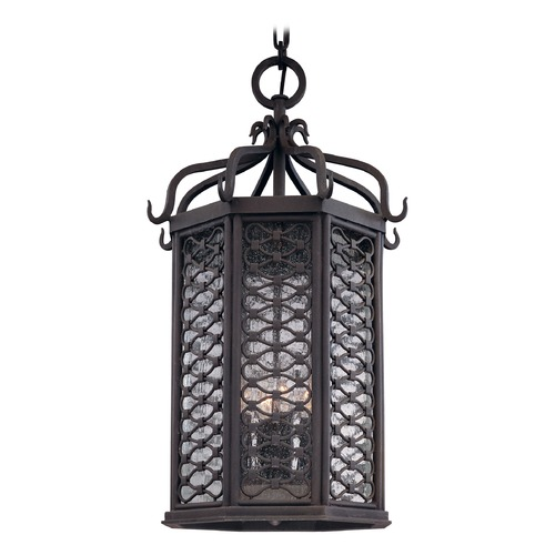 Troy Lighting Outdoor Hanging Light with Clear Glass in Old Iron Finish F2378OI