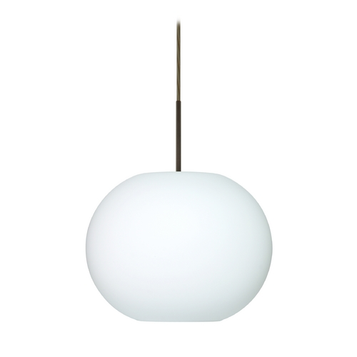 Besa Lighting Modern Pendant Light with White Glass in Bronze Finish 1JT-477607-BR