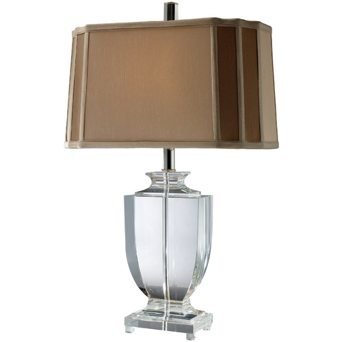 Elk Lighting Table Lamp with Brown Shade in Clear Crystal Finish D1814