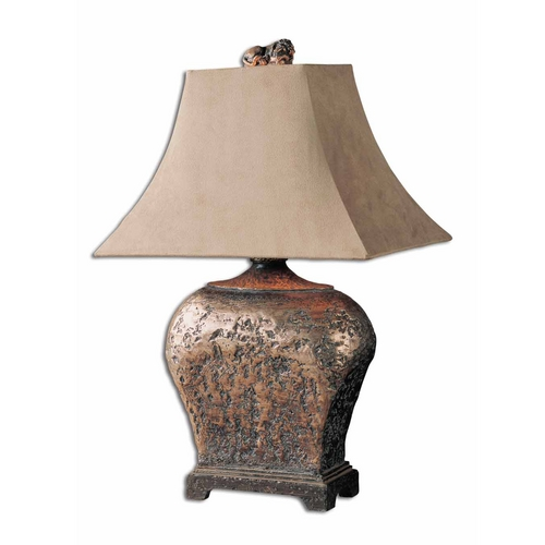 Uttermost Lighting Table Lamp with Beige / Cream Shade in Atlantis Bronze Finish 27084