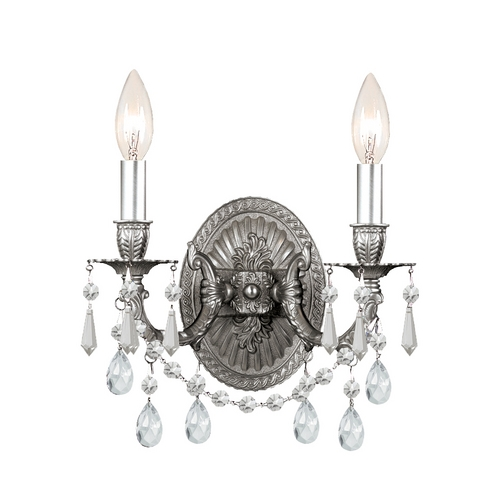 Crystorama Lighting Crystal Sconce Wall Light in Pewter Finish 5522-PW-CL-SAQ
