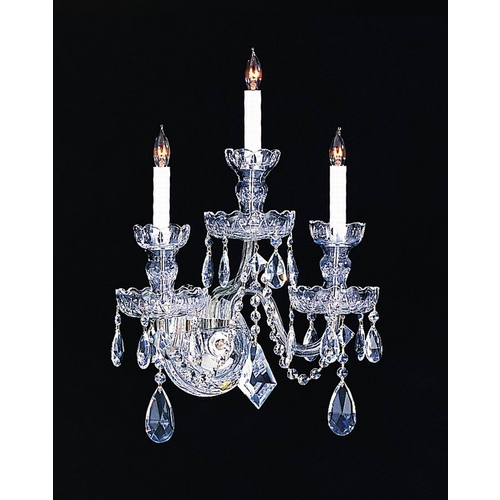 Crystorama Lighting Crystal Sconce Wall Light in Polished Chrome Finish 1143-CH-CL-SAQ