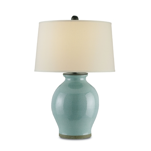 Currey and Company Lighting Table Lamp with White Shade in Robin's Egg Blue Finish 6431