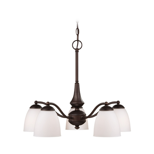 Nuvo Lighting Chandelier with White Glass in Prairie Bronze Finish 60/5163