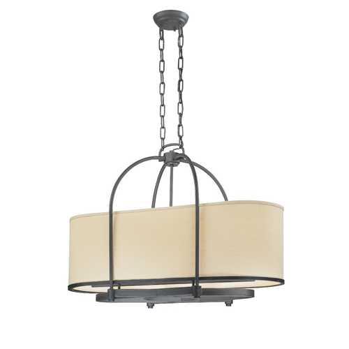 Troy Lighting Bronze Chandelier with Oval Beige Shade F1805FBZ