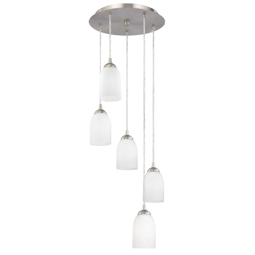Design Classics Lighting Modern Multi-Light Pendant Light with White Glass and 5-Lights 580-09 GL1028D