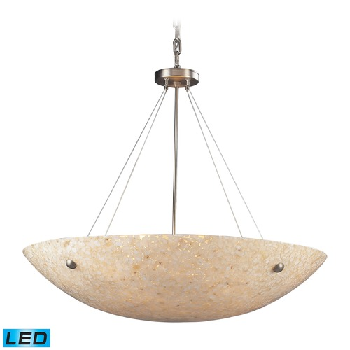 Elk Lighting Elk Lighting Stonybrook Satin Nickel, Pearl Stone LED Pendant Light with Bowl / Dome Shade 8888/8-LED