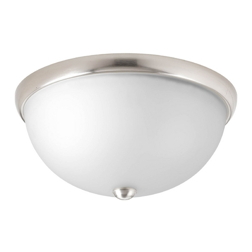 Progress Lighting Modern Flushmount Light with White Glass in Brushed Nickel Finish P3642-09WB