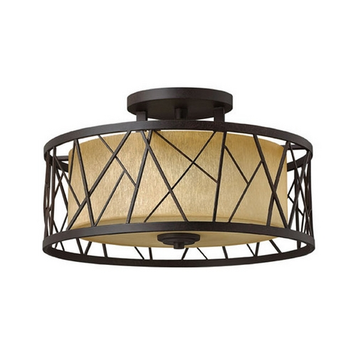 Frederick Ramond Semi-Flushmount Light with Amber Glass in Oil Rubbed Bronze Finish FR41622ORB