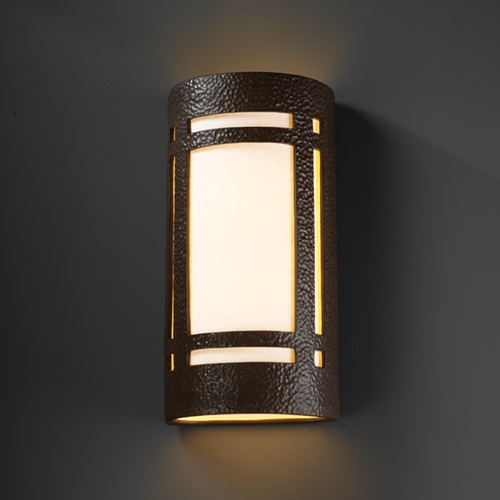 Justice Design Group Outdoor Wall Light with White in Hammered Iron Finish CER-7497W-HMIR