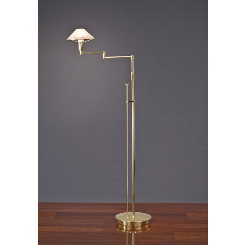Holtkoetter Lighting Holtkoetter Modern Swing Arm Lamp with Alabaster Glass in Polished Brass Finish 9434 PB ABR