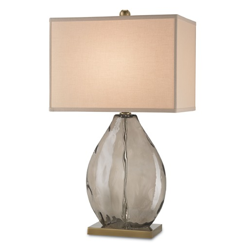 Currey and Company Lighting Currey and Company Lighting Brooke Dark Smoky / Coffee Brass Table Lamp with Rectangle Shade 6450