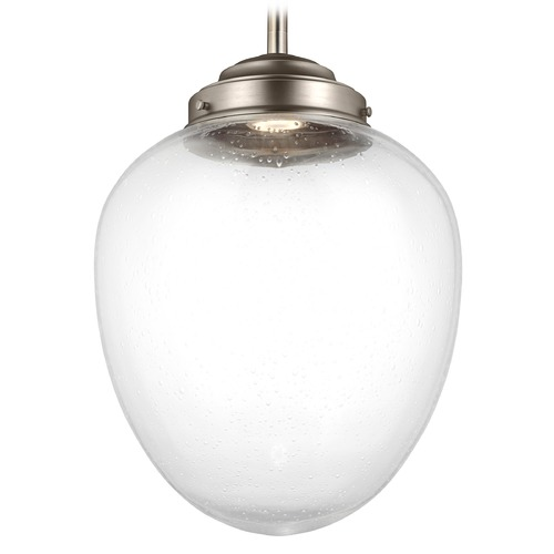 Feiss Lighting Feiss Lighting Alcott Satin Nickel LED Pendant Light with Oval Shade P1403SN-LED