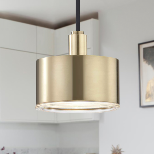 Mitzi by Hudson Valley Mid-Century Modern LED Mini-Pendant Light Brass Mitzi Nora by Hudson Valley H159701-AGB