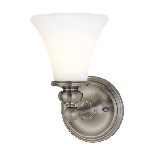 Hudson Valley Lighting Sconce with White Glass in Satin Nickel Finish 4501-SN