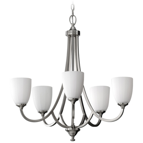 Feiss Lighting Modern Chandelier with White Glass in Brushed Steel Finish F2584/5BS