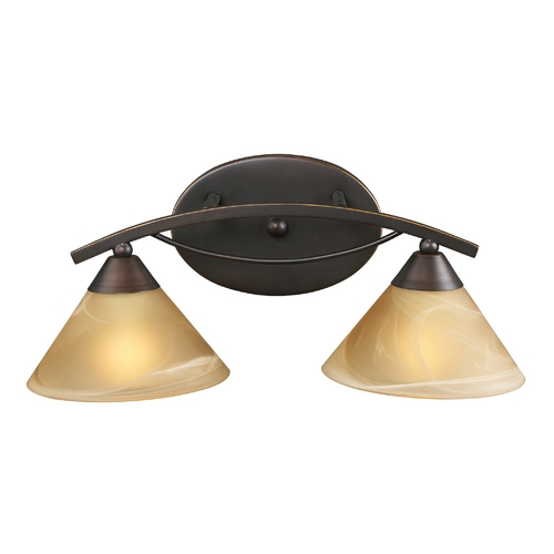 Elk Lighting Modern Bathroom Light with Beige / Cream Glass in Aged Bronze Finish 7641/2