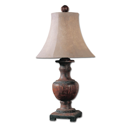 Uttermost Lighting Table Lamp with Beige / Cream Shade in Weathered Wood Finish 27090