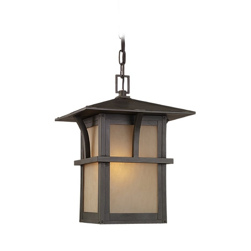 Sea Gull Lighting Outdoor Hanging Light with Amber Glass in Statuary Bronze Finish 60880BLE-51