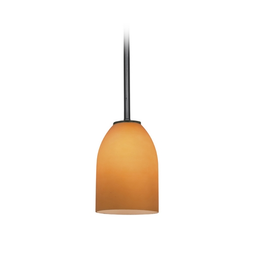 Access Lighting Modern Mini-Pendant Light with Amber Glass 28018-1R-ORB/AMB