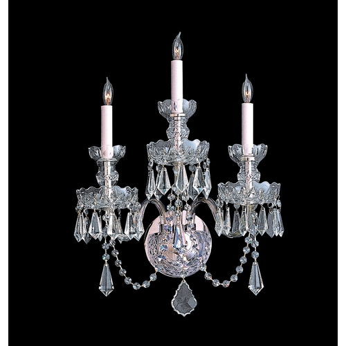 Crystorama Lighting Crystal Sconce Wall Light in Polished Chrome Finish 5023-CH-CL-MWP