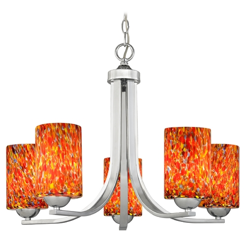 Design Classics Lighting Modern Chandelier with Art Glass in Polished Chrome Finish 584-26 GL1012C