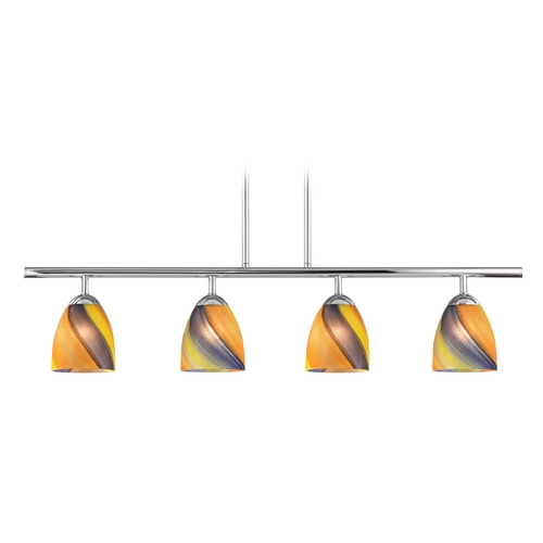 Design Classics Lighting Modern Island Light with Multi-Color Glass in Chrome Finish 718-26 GL1015MB