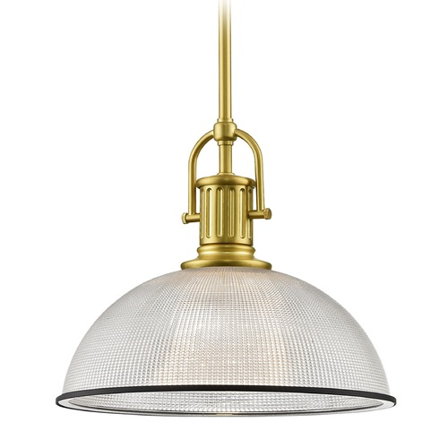 Design Classics Lighting Industrial Farmhouse Prismatic Pendant Light Black / Brass 13.13-Inch Wide 1764-12 G1780-FC R1780-07