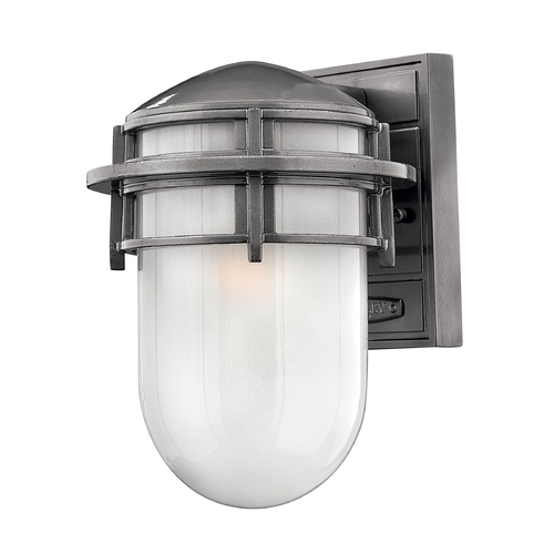 Hinkley Lighting Outdoor Wall Light with White Glass in Hematite Finish 1950HE-GU24